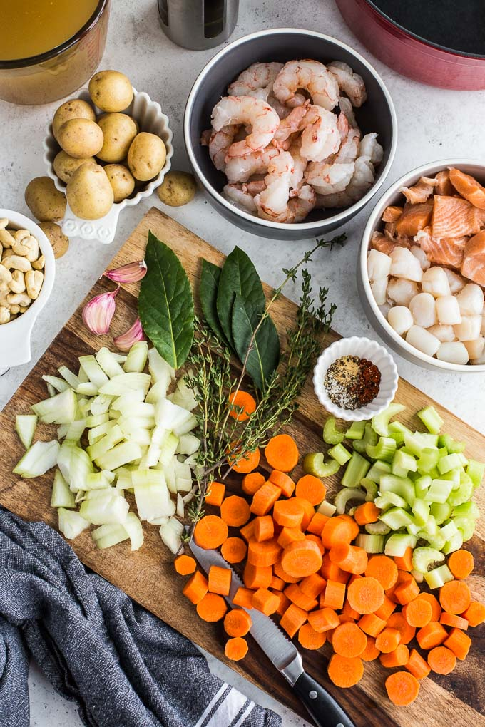 Overhead view of all the ingredients to make Dairy-Free Seafood Chowder.