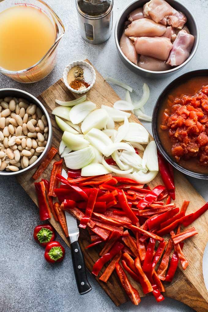Overhead view of ingredients to make Chicken Fajita Soup.