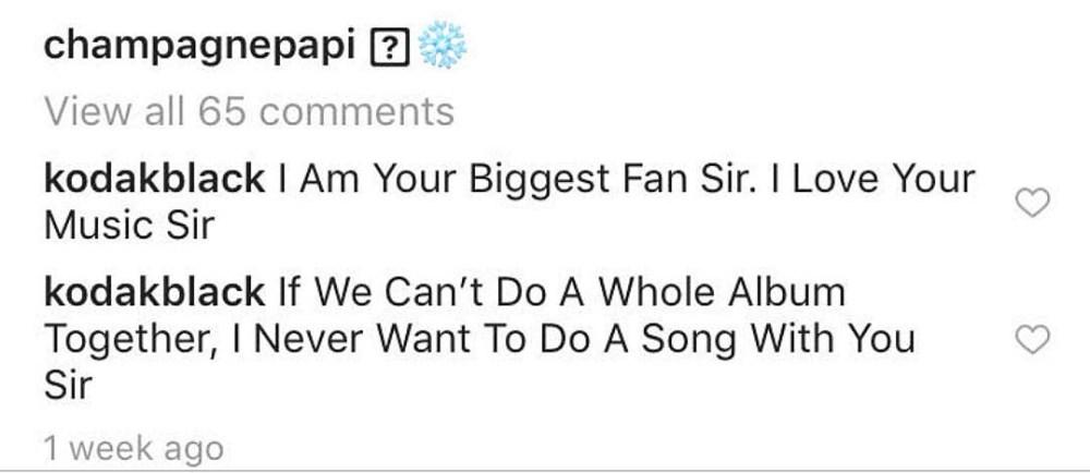 Kodak Black dit à Drake qu'il est le plus grand fan