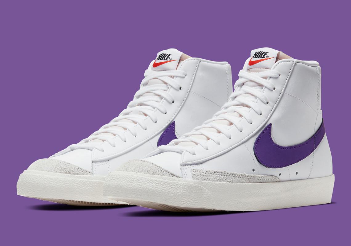 Le Nike Blazer Mid '77 Vintage obtient des swooshes violets