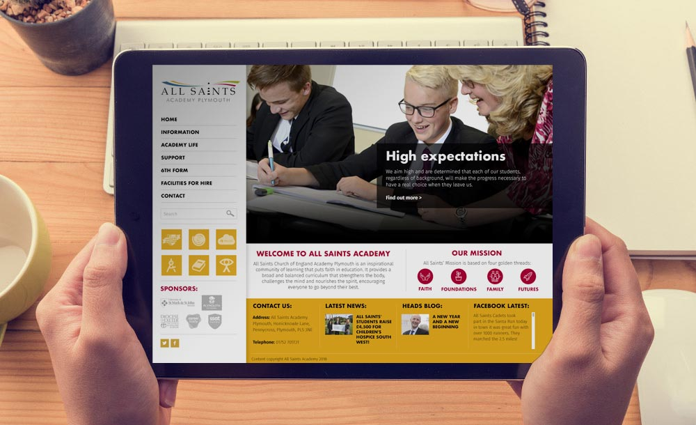 All Saints Academy website design