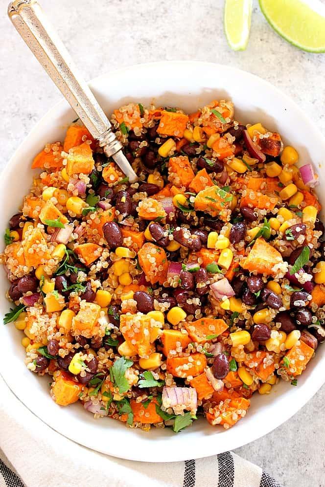 Roasted Sweet Potato Black Bean Quinoa Salad Recipe