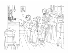 Catholic Family at Prayer Coloring Picture