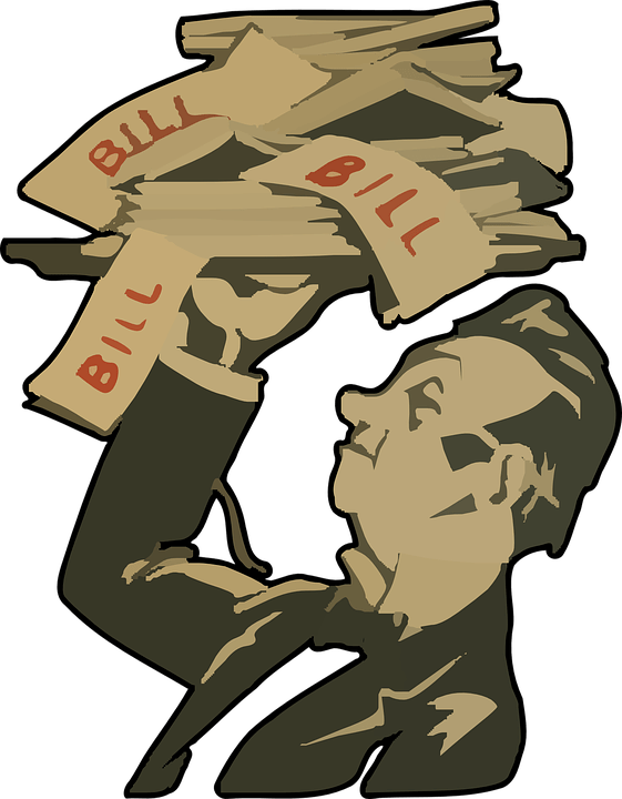 man carrying bills