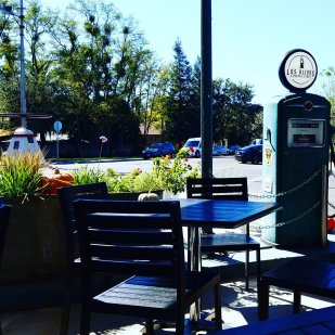 The patio in front of the Los Olivos General Store and the Larner Wine Tasting room