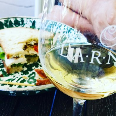 A glass of Larner Malvasia Bianca with lunch from Panino