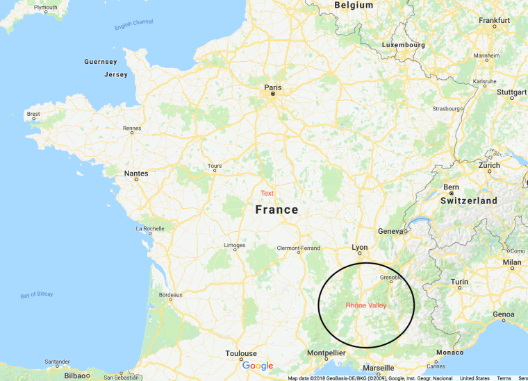 Map of France with Rhône Valley