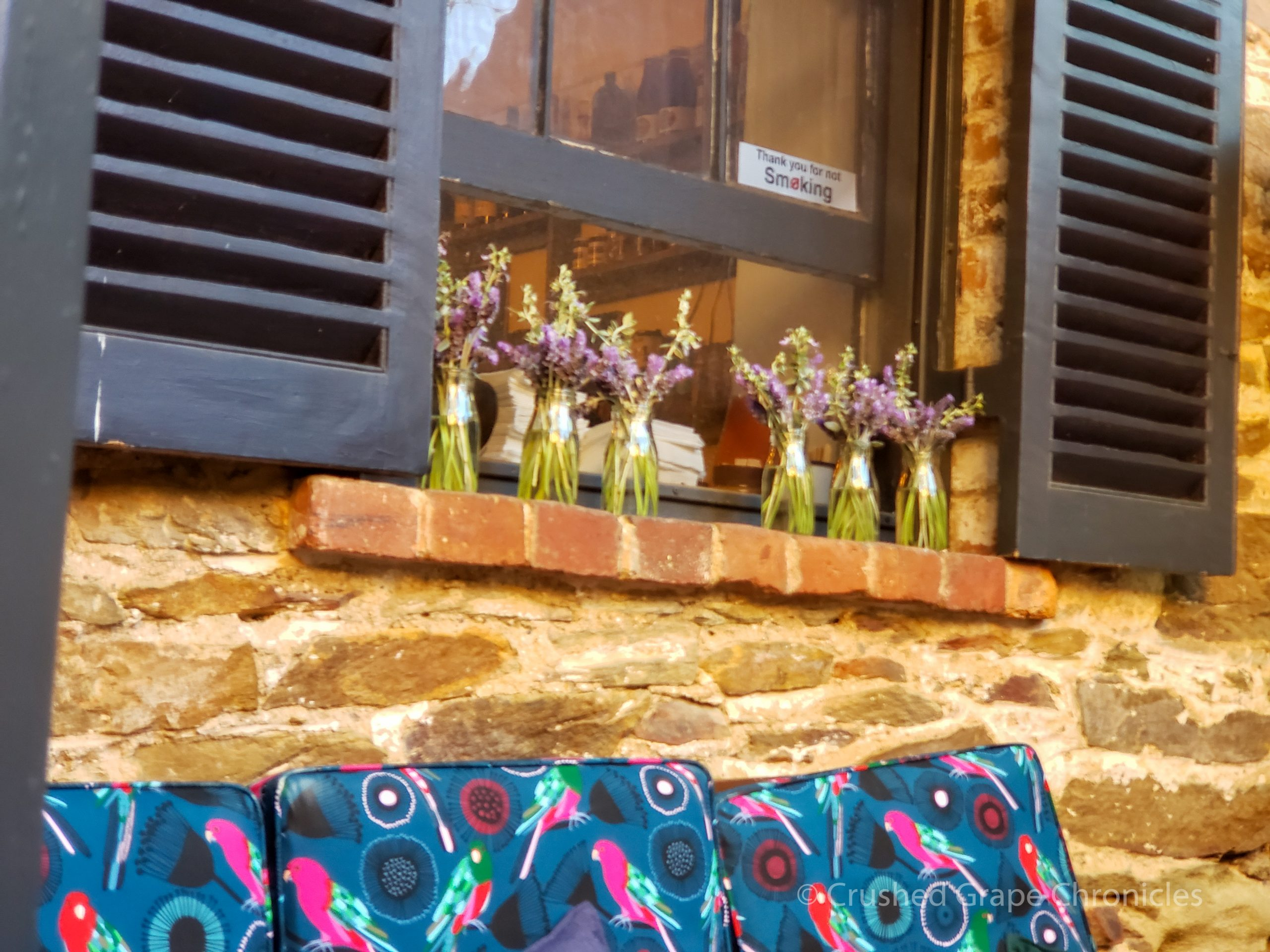 Flowers on the sill to the coffee bar Alby + Esther's Mudgee