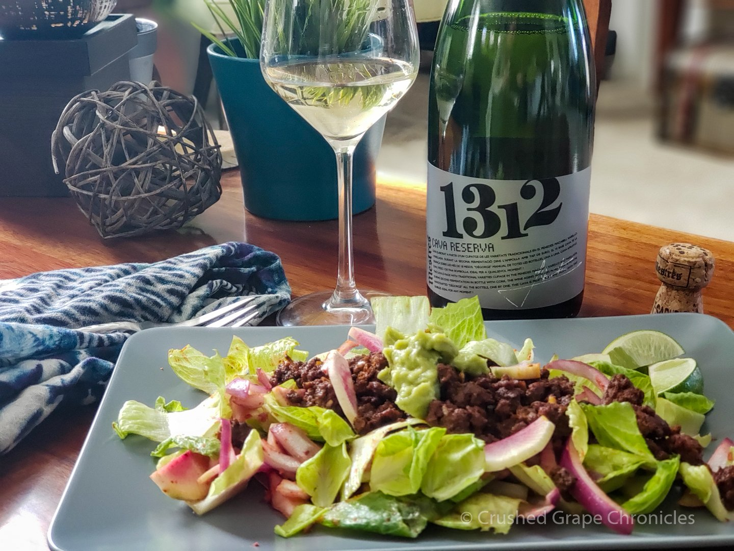 Cava Mestres 1312 and Beef dzik salad