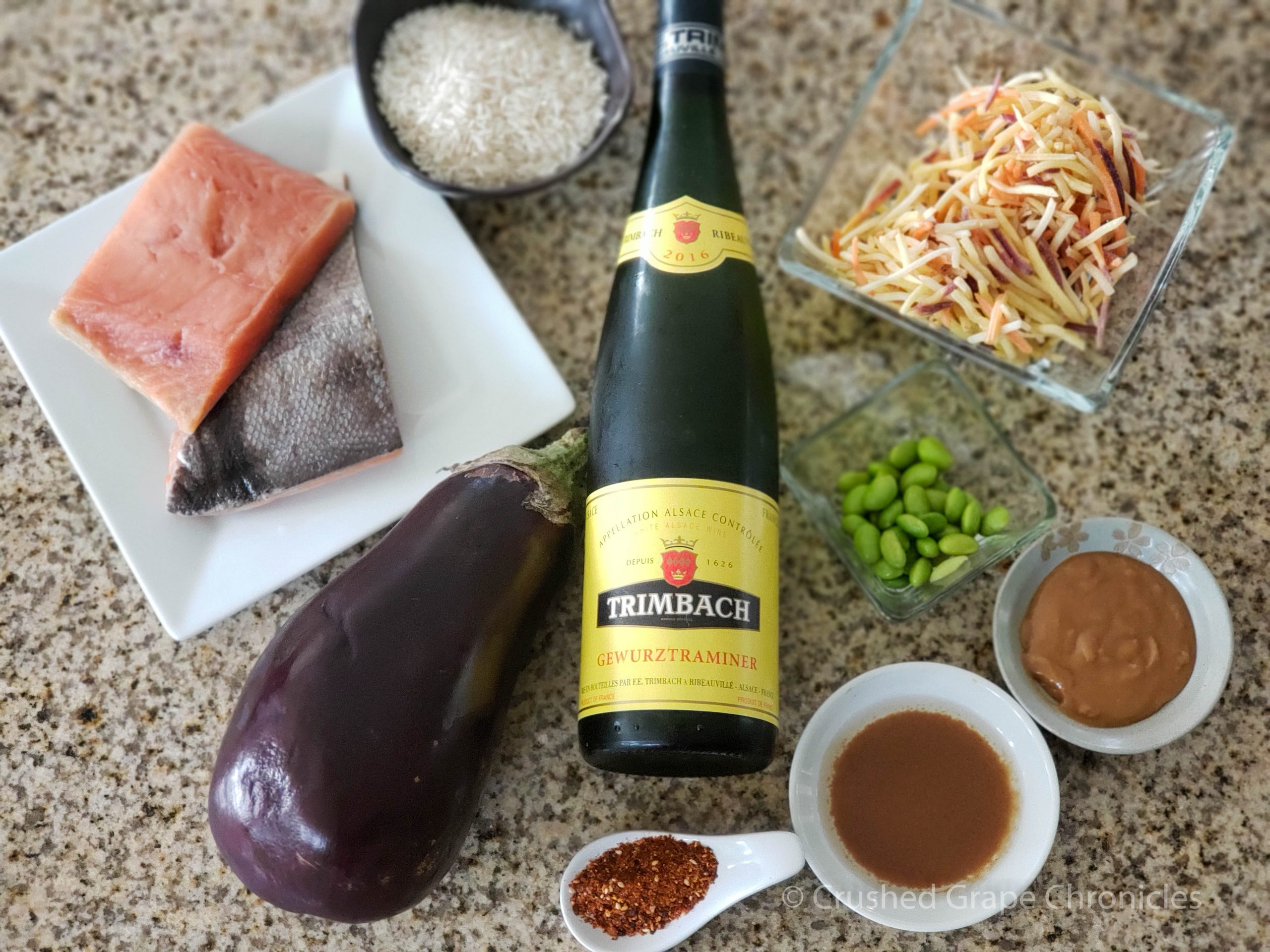 Ingredients for the Roasted togarashi salmon with miso-glazed eggplant to pair with the Trimbach Gewurztraminer