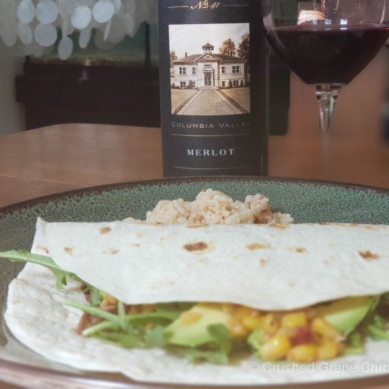 L'Ecole No 41 Columbia Valley 2017 Merlot with Carne Asada soft tacos