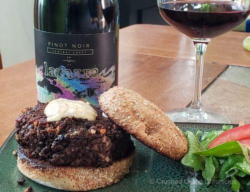 LaZarre 2017 Central Coast Pinot Noir and a black bean lentil burger