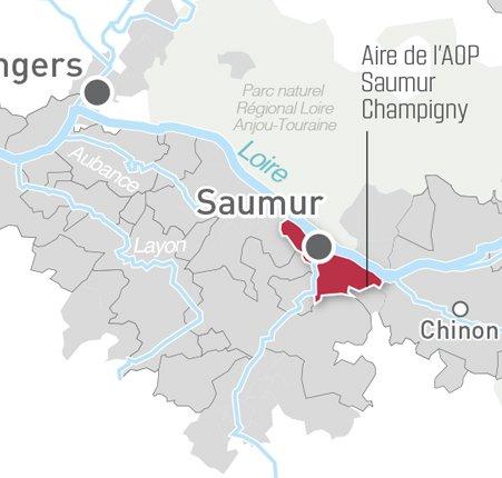 Map of AOP Saumur Champigny in the Loire Valley - courtesy Vins Val du Loire
