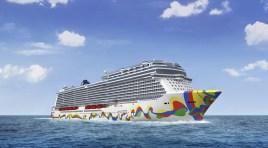 Norwegian Cruise Line apresentou arte do casco do novo Norwegian Encore (um verdadeiro labirinto de cores)