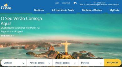 Novo site da Costa Cruzeiros