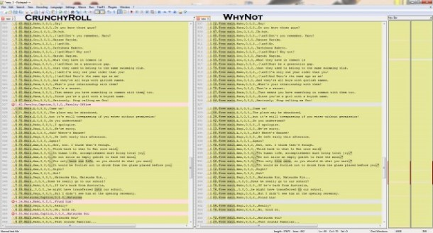 """Script comparison example (changes highlighted, may require you to click the image to zoom in to see the """"differences"""")"""