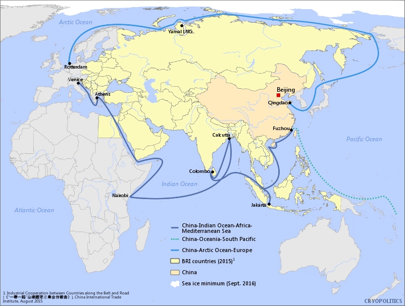 Map of China's Polar Silk Road going from Qingdao through Russia's Northern Sea Route in the Arctic and passing the Yamal LNG facility.