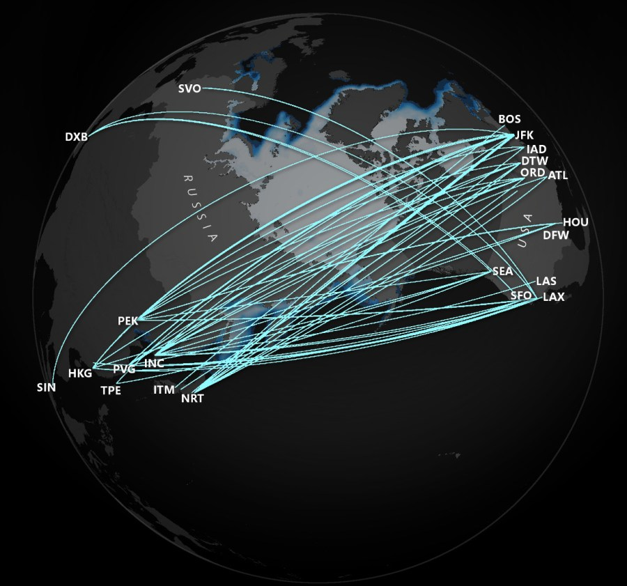 A map of flights from the U.S. that fly over Russian airspace.