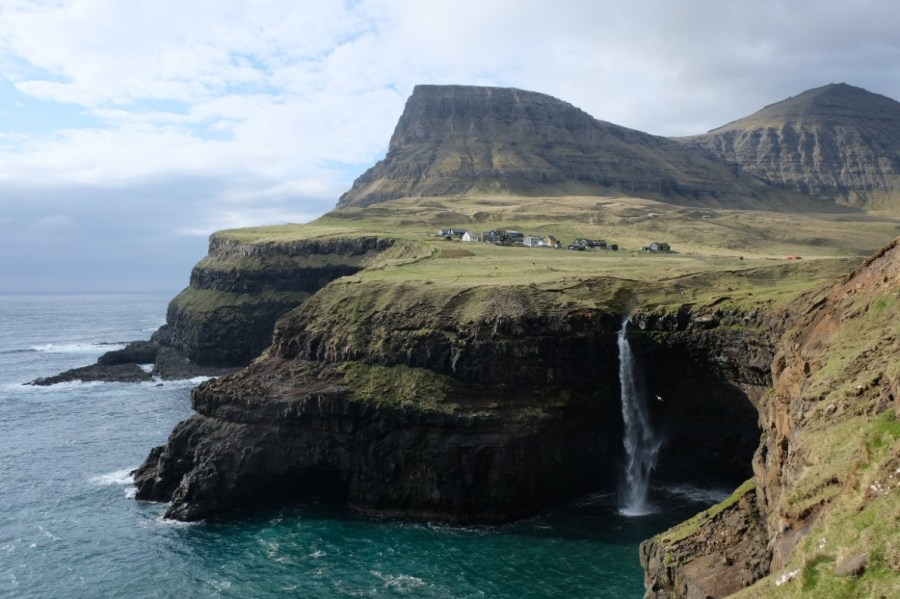 Waterfall in Gasadalur, Faroe Islands.