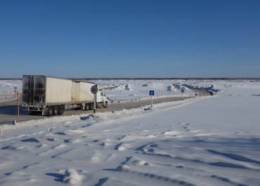The ice road across the Lena River from Yakutsk, where there is no bridge to the other side.