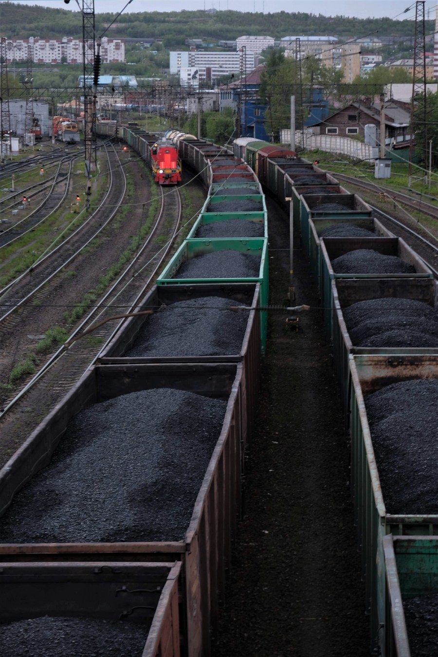 Coal trains at the Port of Murmansk.