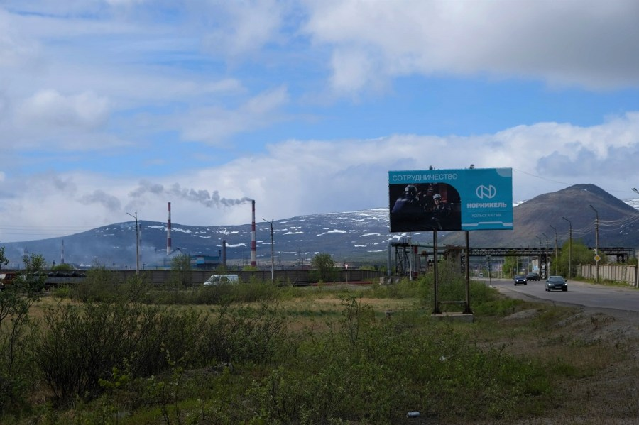 A billboard for Norilsk Nickel in Monchegorsk.