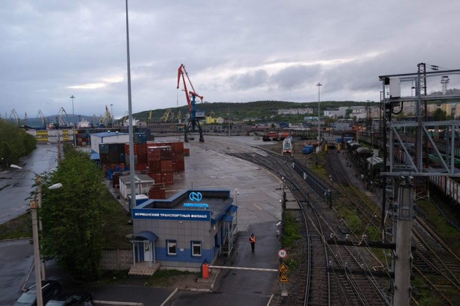 The rail yard at the port of Murmansk.