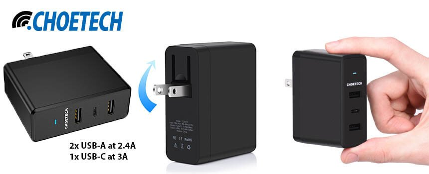 CHOETECH 39W 3-Port Wall Charger with USB C Port