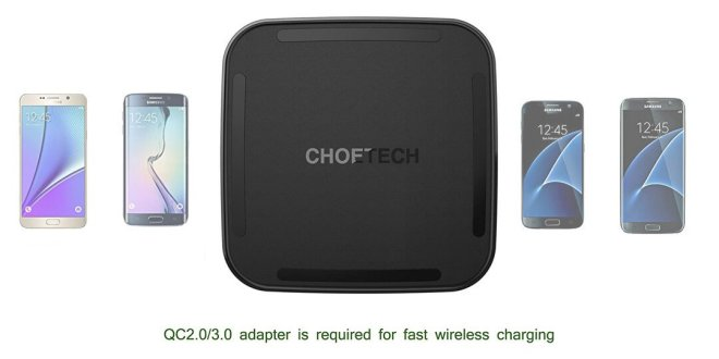 CHOETECH Wireless Charging Pad with USB C Cable for Smartphones