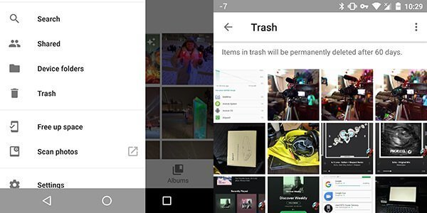 Google Photos Deleted photos trash recovery cryovex