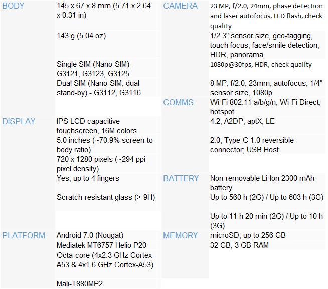 Sony Xperia XA1 specs cryovex