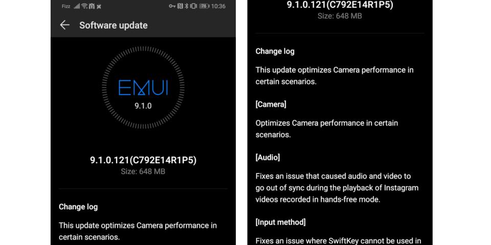 Huawei P30 Pro update 9.1.0.121