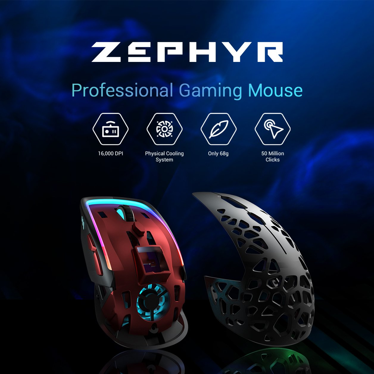 Zephyr Ultra lightweight Gaming Mouse Adjustable Cooling System pic3