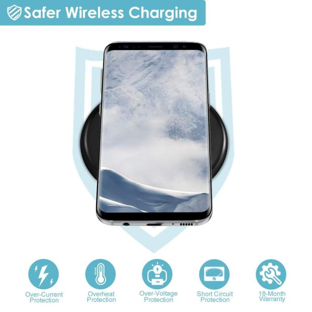 Will charge up to 1.5X faster than other wireless chargers by using a QC2.0 & QC3.0 charger adapter (NOT INCLUDED). Supports input 5V/2A, output 5V/1A(max). 5W output is available Compatible Samsung s9, s9 plus, iPhone X, 8, 8 plus (also enable the latest iOS 11 update). Provides higher efficiency and saves time, no charge cables needed.