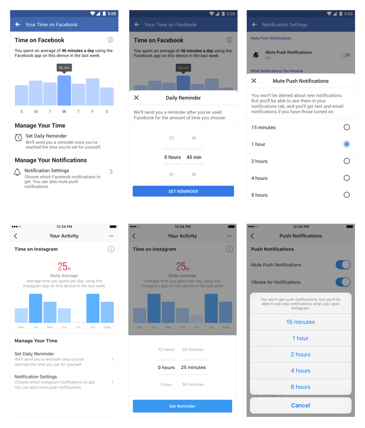 Facebook & Instagram announce new tools to manage time spent on them