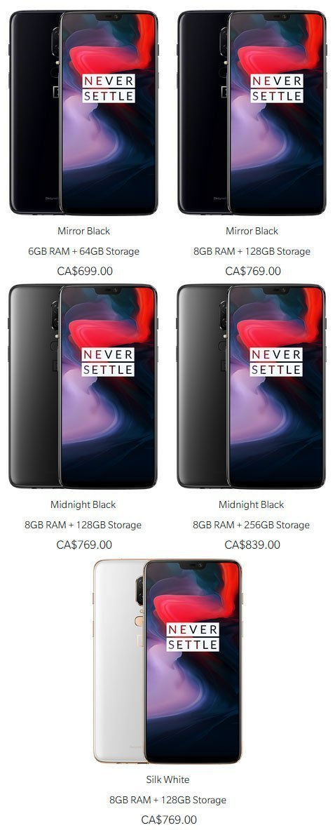 OnePlus 6 Pricing Specs Canada Ottawa Martin Android News