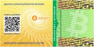 Portefeuille papier pour Bitcoin