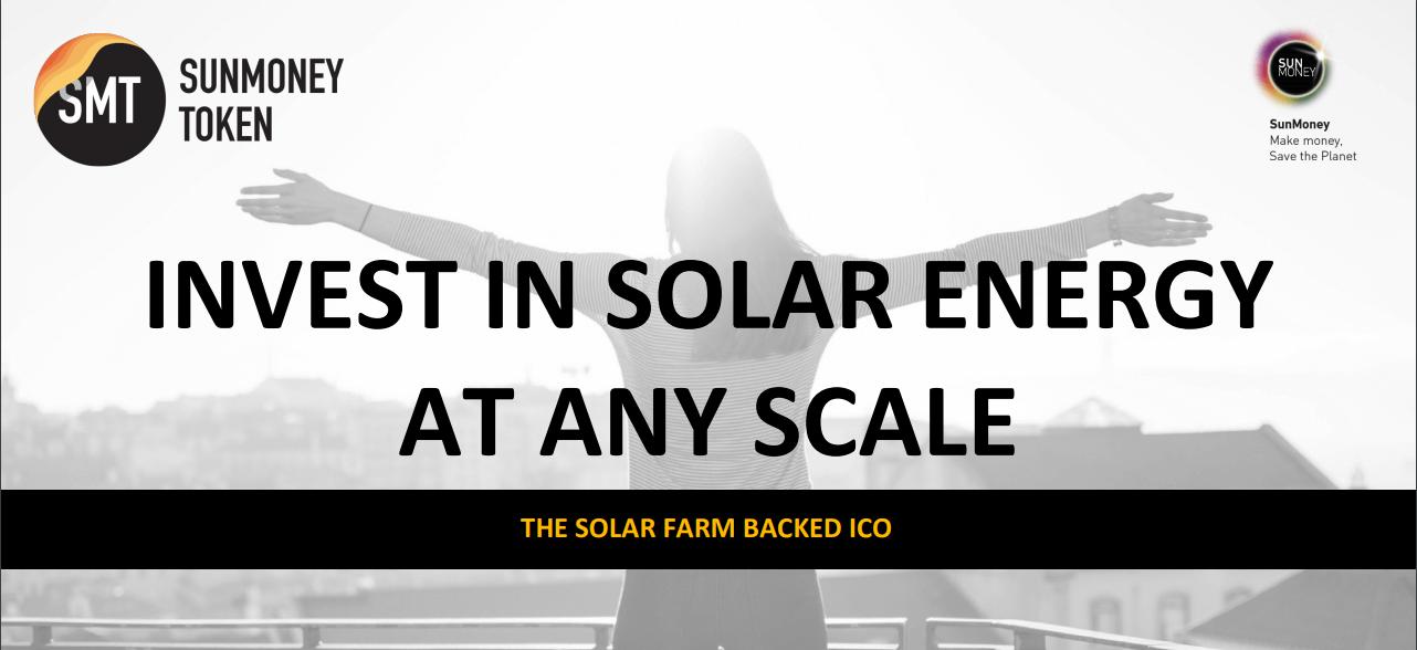 مشروعSunmoney Solar للطاقة المتجددة القائم على البلوكشين يطلق حملة البيع الأولي للعملة ICO