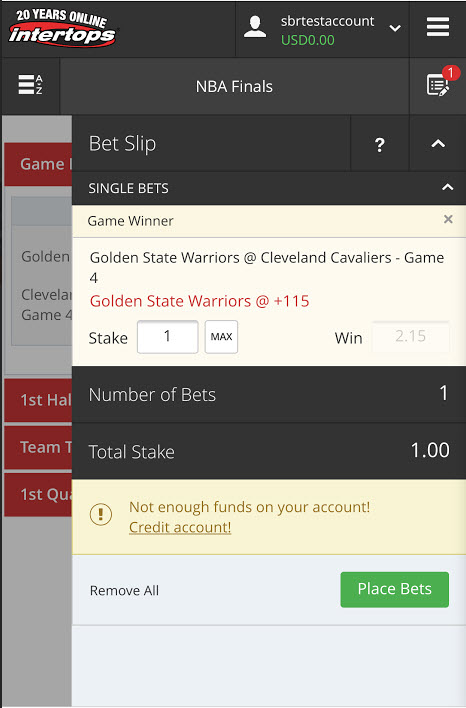 Intertops BTC NBA Basketball betting app