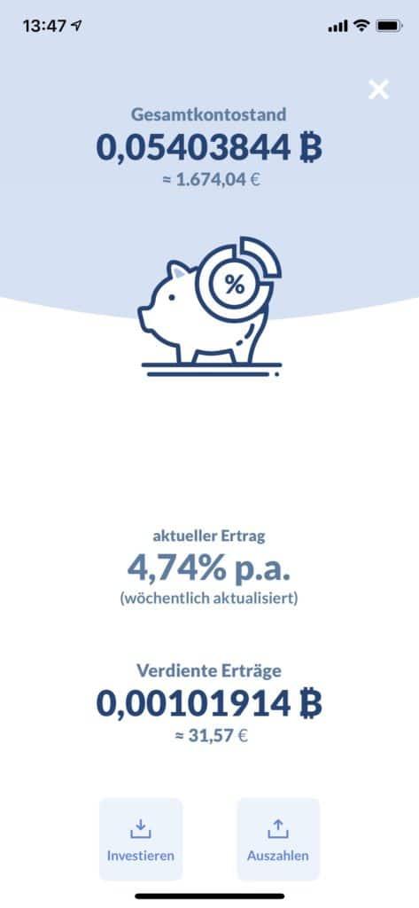 Bitwala Ertragskonto nach 6 Monaten mit 4,7 % Zinsen