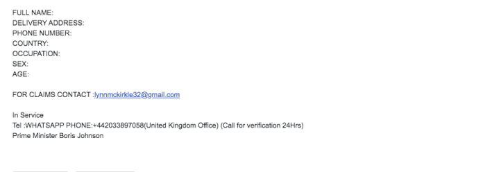 House of commons email scam 2