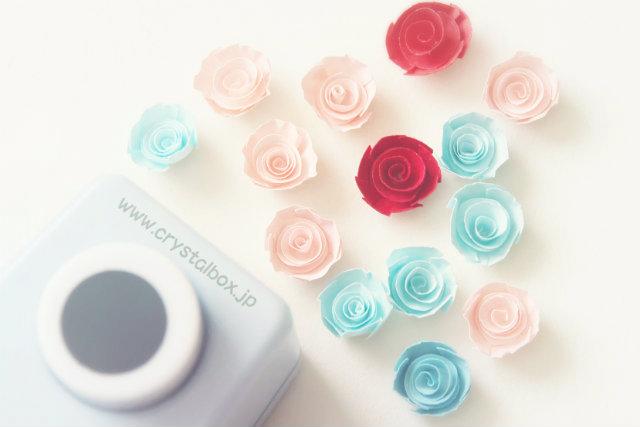 100均クラフトパンチで作る立体的なバラの花【ペーパーフラワー】