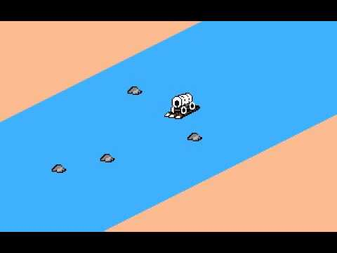 Image of wagon from Oregon Trail fording a river.