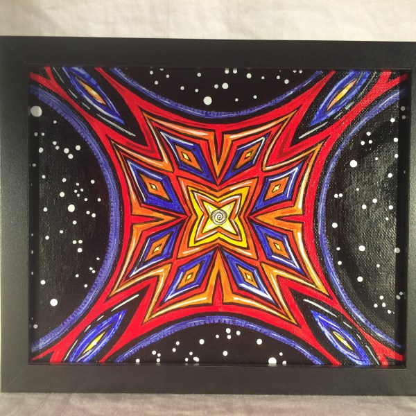 Mandala_Acrylic_on_Canvas_-_8x10_Painting_in_Black_Frame_by_Mark_Bray - 1