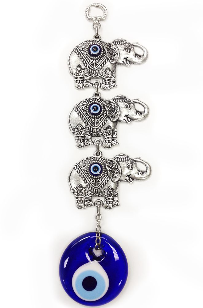9 Inches Tall Three Elephants And Evil Eye Office And Home Decor