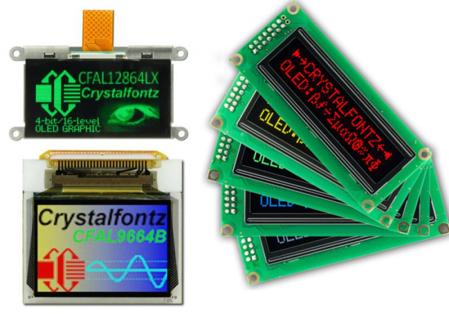 An Array of OLED colors from Crystalfontz.com