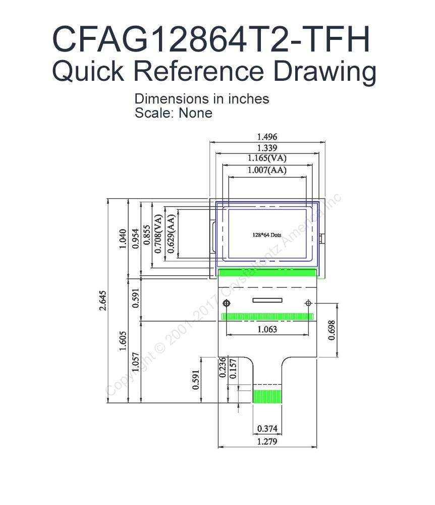128x64 SPI Graphic LCD Display (CFAG12864T2TFH)