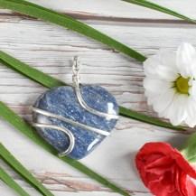 Hänge wirewrap hjärta blå aventurin