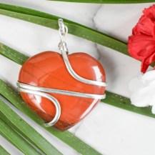 Hänge wirewrap hjärta röd jaspis