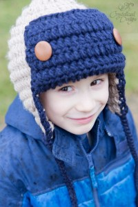 Crocheted Aviator Beanie Crochet Pattern